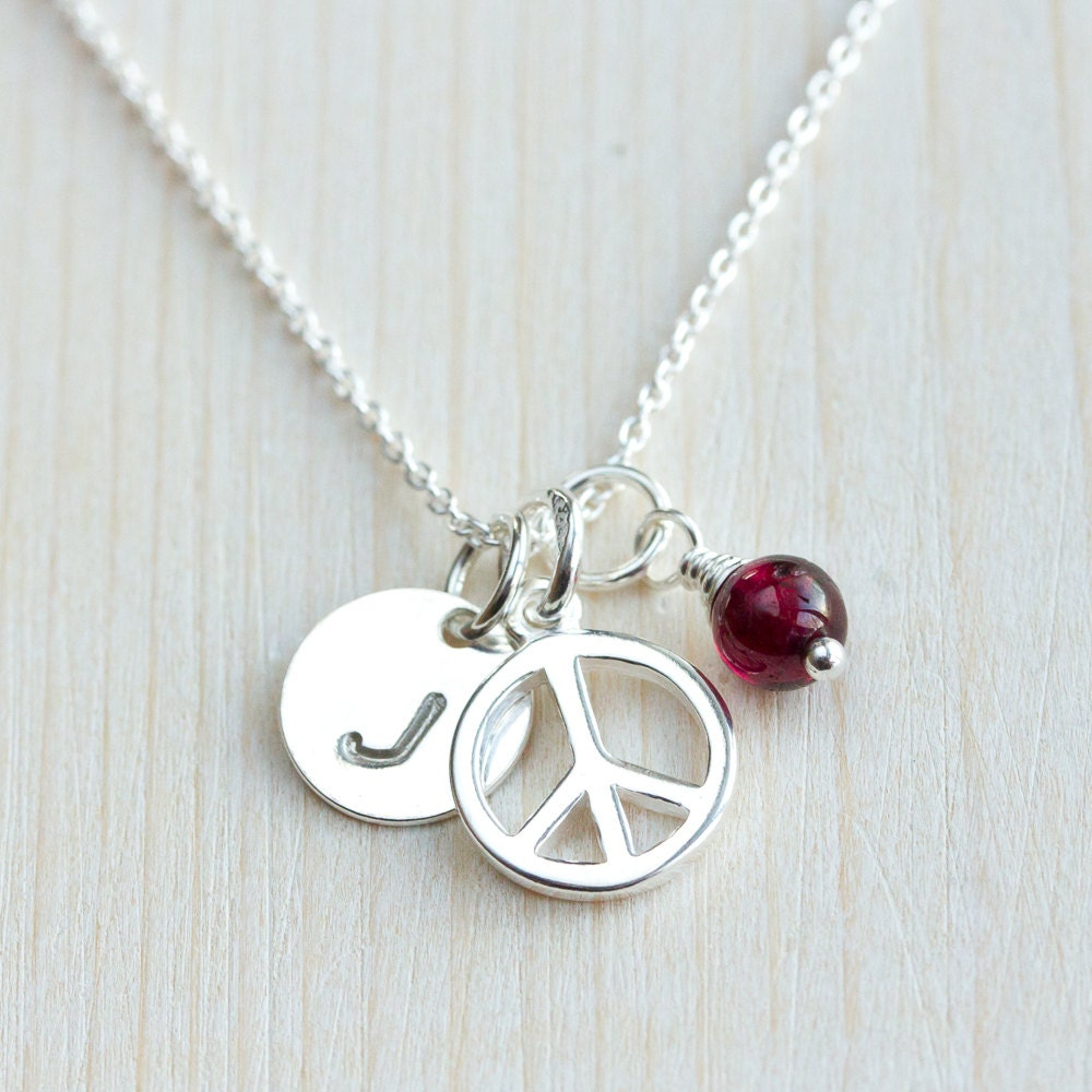 silver peace necklace personalized with hand stamped