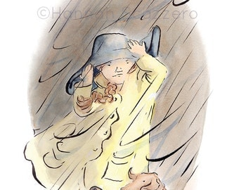 Children's Watercolor Illustration Stormy Weather Portrait