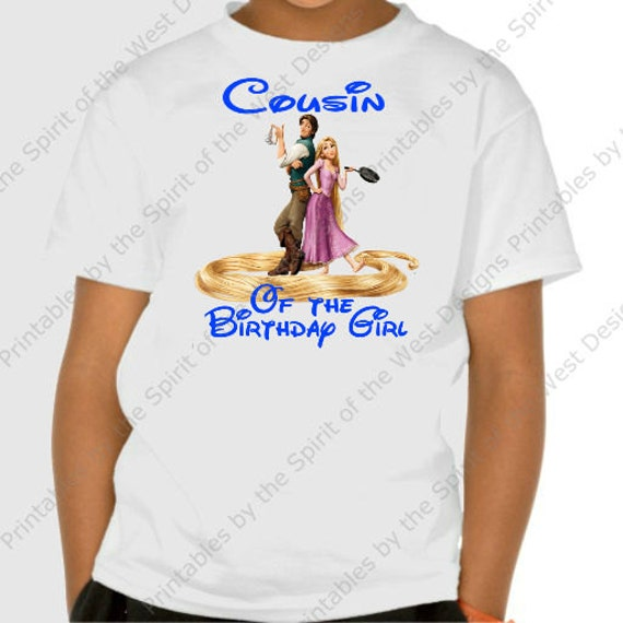 Cousin Of The Birthday Girl Iron On Disney Rapunzel Tangled Theme T Shirt Transfer Printable Digital Download Flynn Rider Party Favour DIY