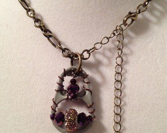 Large Pull Tab Necklace w/ Rainbow Brass/Bronze Bead and Dark Purple Accent Beads, 19.5in. Brass-tone Chain, & Brown Wire (Free Shipping)