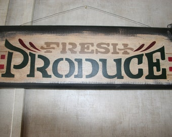 Fresh Produce Wooden Sign