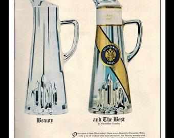 "Vintage Print Ad 1960's : Wolfschmidt Vodka ""Beauty and the Best"" Art Decor 8.5"" x 11"" Advertisement"