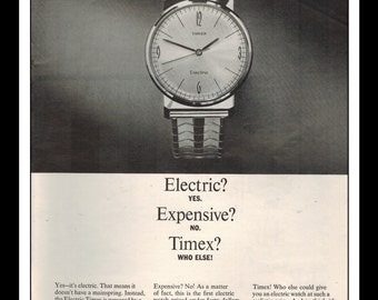"Vintage Print Ad June 1965 : Timex - The Electric Timex Watch Wall Art Decor 8.5"" x 11"" Print Advertisement"