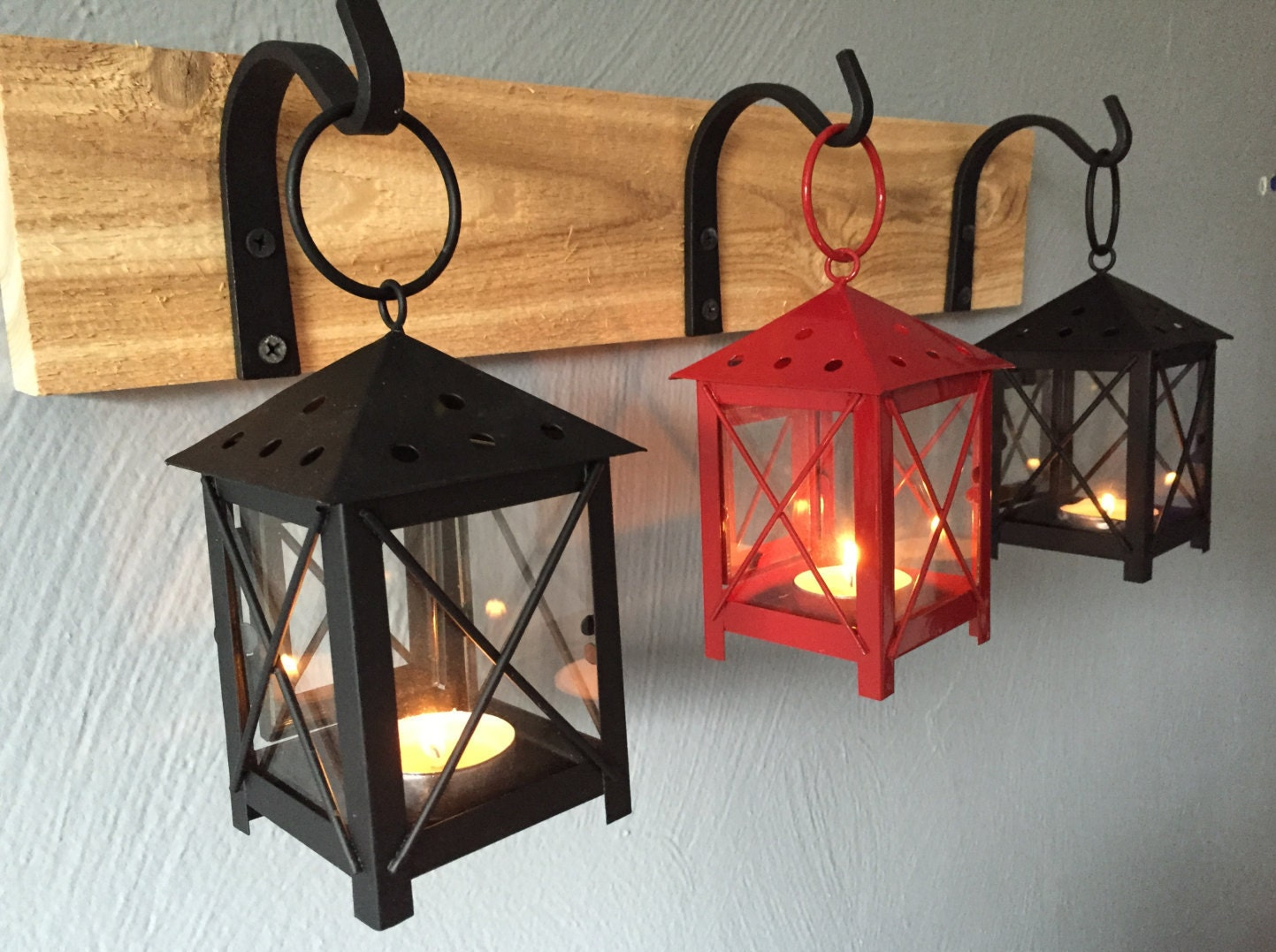 Rustic Candle Lantern Sconces Wall Decor Wall by DesignsByMandK
