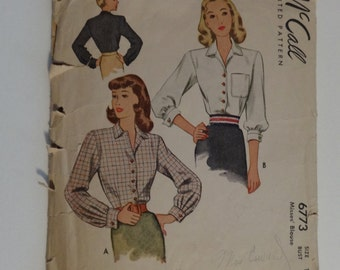 Vintage MCall's Sewing Pattern 6773 1940's Blouse Size 18