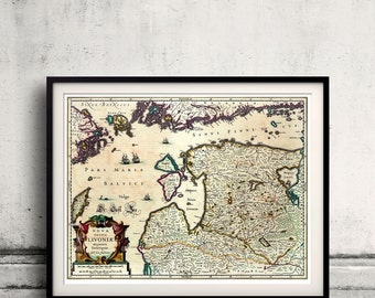 Map of Lithuania, Estonia and Latvia by Jansson - 1636 - SKU 0240