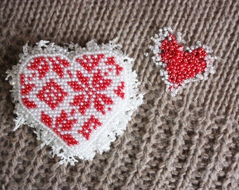 Brooch handmade Beaded Beadwork Embroidered brooch Red heart Brooch with embroidery Beaded pin Romantic style Gift for girl Jewelry heart