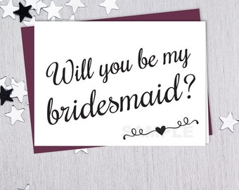 Be My Bridesmaid // Will You...? // Wedding Card DIY // Elegant Calligraphy & Heart Printable PDF // Classic Elegance ▷ Instant Download