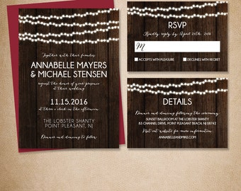 Rustic Wedding Invitation Set DIY / Glowing String Lights, Dark Wood // Invitation Suite Printable PDF ▷ Invite + RSVP Card + Enclosure Card