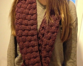 Mulberry Infinity Scarf using Knit and Purl Stitches