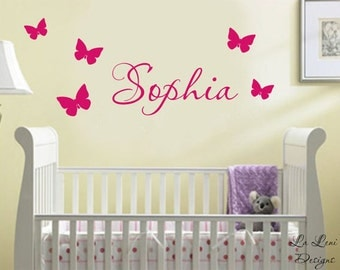 Name Wall Decal. Butterfly Decals - Nursery Wall Decals - Children's Name Wall Decals - kids Wall Decals - Wall Decals