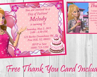 Personalized Barbie Life in the Dreamhouse Birthday Invitation