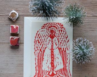 Angel – Handprinted Christmas card/greeting card.