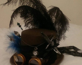 Steampunk Festival Western Saloon Girl Victorian Wool/Felt Top Hat Goggles Real Pocket Watch Clocks Lace Cosplay Burning Man Halloween