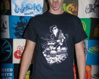 "Tee shirt ASKAN UNITED ""Musicians"" - Tee shirt black - white inking"
