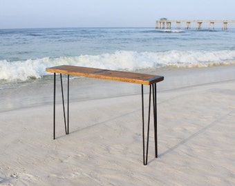 Metal inlayed reclaimed wood sofa table with hairpin legs, Sofa table, reclaimed wood sofa table, Industrial sofa table, hairpin legs, urban