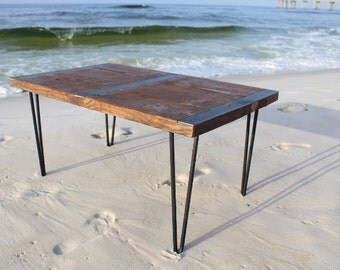 Reclaimed wood coffee table with inlayed metal strips, Industrial coffee table, urban coffee table, reclaimed wood table, vintage look