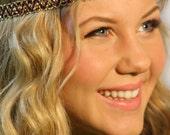 "Maroon & Gold Patterned 5/8"" Boho Headband, worn Traditionally or Bohemian, women, teens, kids, accessory"