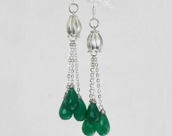 Green Earrings, chrysoprase Earrings, Dangle Earrings, drop earrings, bell