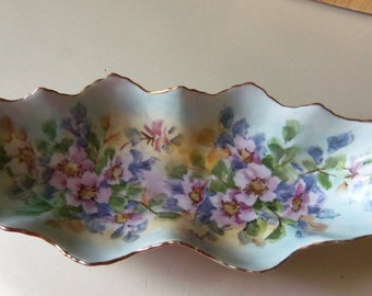 Hand painted Porcelain Oblong Candy Dish with gold trim