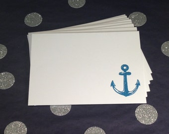 Nautical Anchor Design Folded Note Cards and Envelopes – White and Blue – Set of 8