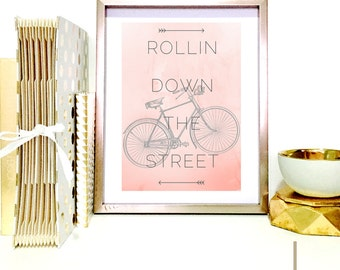 Modern Bicycle Art, Bicycle Typography, Bicycle Print,Typography Print,Bicycle Home Decor,Bicycle Picture