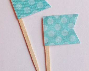 Teal and Light Blue Dot Mini Flag Cupcake Toppers