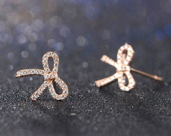 Butterfly Bow 18k Rose Gold Diamond Earrings Stud Wedding Birthday Valentine's