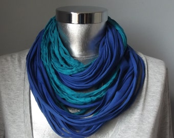 Blue Scarf Teal Scarf Jersey Scarf Cotton Scarf Necklace Scarf Women Scarf Infinity Scarf Noddle Scarf Cotton Scarf Loop Scarf Summer Scarf