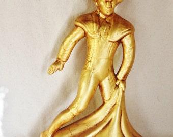 Mid Century Gold Leaf Spanish Bullfighter Statue
