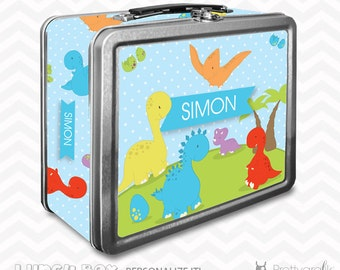 SALE Dinosaur Lunch box, personalized lunch box, chalkboard inside for notes, custom name lunch box, Metal lunch box - LB101