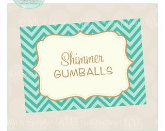 Buffet Labels for candy or dessert buffets. Printable PDF files with color of choice. Christina Collection in Teal, Seafoam,  Sand Chevron