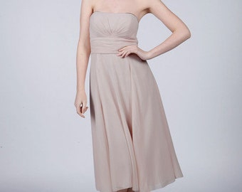 Silver Strapless Short Bridesmaid Prom/Dress by Matchimony