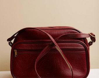 1970s Burgundy Vinyl Messenger Bag with Front Pocket & Adjustable Long Strap
