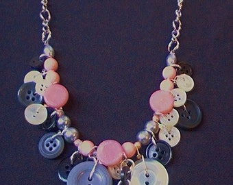 Pink Black and Grey Vintage Button Jewelry Set  Necklace bracelet and Earrings Vintage Button Jewelry Set