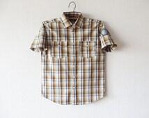 Brown Plaid Short Sleeve Mens Shirt Boyfriend Button up Checked Brown Sky Blue Shirt Cotton Casual Mens Work Wear Size Small To Medium