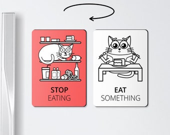 STOP EATING - chore magnets, eating, refrigerator magnet, stop, chore magnet, eating, magnets, motivational