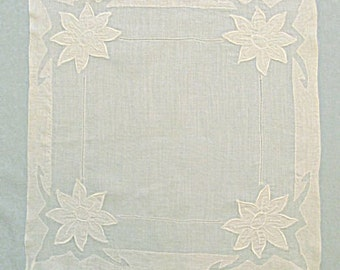 White Linen Handkerchief with Appliqued Flowers, Wedding, Bride, Special