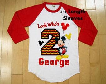 Mickey Mouse Birthday Shirt - Raglan Shirt Available - Chevron Print