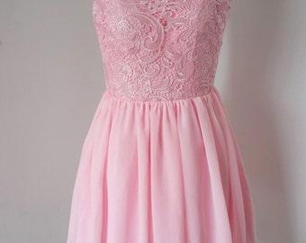 2015 V-back Blush Pink Lace Chiffon Short Bridesmaid Dress