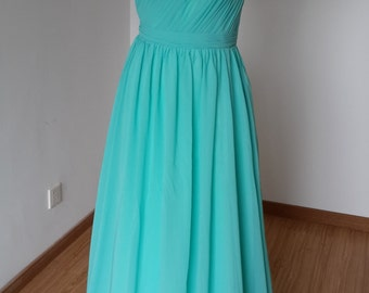 2015 One-shoulder Turquoise Chiffon Long Bridesmaid Dress