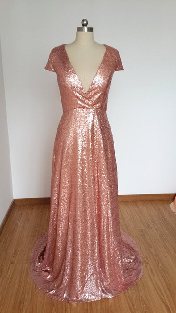 2015 sexy v neck cap sleeves rose gold sequin long by for Hollow to floor meaning