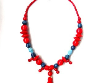 Red and blues tassel necklace