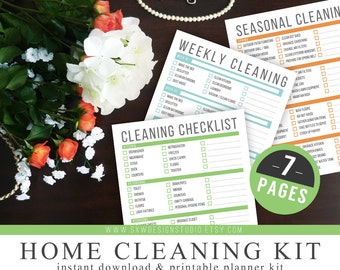 Home Cleaning Kit - Instant Download - Printable DIY - 7 Page Kit - Household Management - Weekly and Seasonal Cleaning Tasks, Checklists
