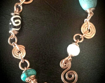 Inspirals Handcrafted Copper & Genuine Stones Bracelet