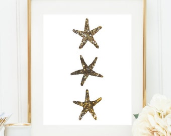 Gold Starfish Print, Starfish Wall Decor, Digital Print, Gold Wall Art, Beach Decor, Nursery Print, Instant Download, Home Prints