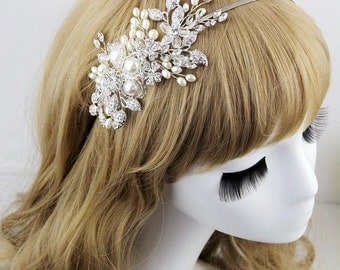 Crystal & pearl flower headband, wedding hair hoop,bride hair accessories