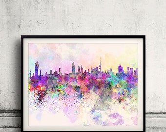 Kuwait City skyline in watercolor background 8x10 in. to 12x16 in. Poster Digital Wall art Illustration Print Art Decorative  - SKU 0015