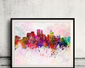 Minneapolis skyline in watercolor background 8x10 in to 12x16 Poster Digital Wall art Illustration Print Art Decorative  - SKU 0130