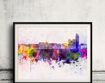 Nantes skyline in watercolor background 8x10 in to 12x16 Poster Digital Wall art Illustration Print Art Decorative  - SKU 0148